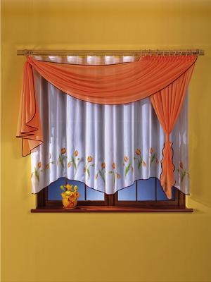 Комплект штор для кухни Wisan. Цвет: оранжевый, белый