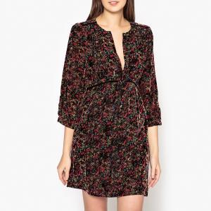 Платье велюровое с рисунком IREVE BA&SH. Цвет: разноцветный