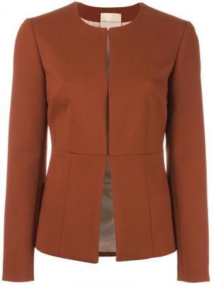 Пиджак без воротника Erika Cavallini. Цвет: коричневый
