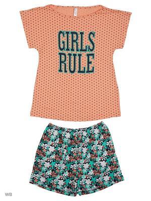 Пижама: топ, шорты Modis. Цвет: оранжевый, белый, бирюзовый