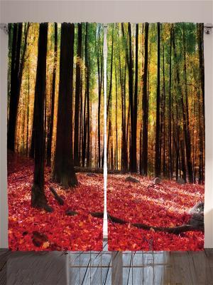 Комплект фотоштор Кленовый осенний лес, 290*265 см Magic Lady. Цвет: бежевый, красный, розовый, горчичный, кремовый, желтый, черный, зеленый, коричневый, лиловый, малиновый