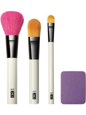 Набор аксессуаров для макияжа: 4 предмета QVS. Цвет: черный, белый, желтый, фуксия