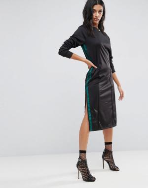 ASOS Платье миди в спортивном стиле. Цвет: черный