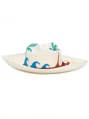 Vamos a la playa beaded panama hat Sensi Studio. Цвет: белый