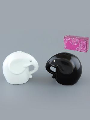 Набор для специй Слоники Модерн Elan Gallery. Цвет: черный, белый
