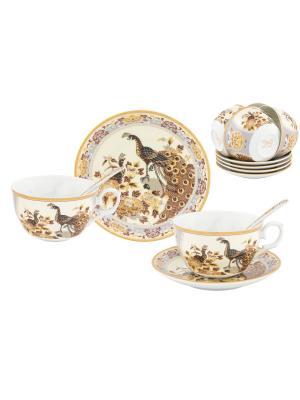 Чайный набор Павлин на бежевом Elan Gallery. Цвет: белый,коричневый,бежевый