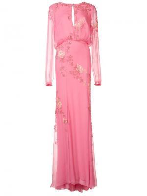 Платье с цветочной вышивкой Monique Lhuillier. Цвет: розовый и фиолетовый