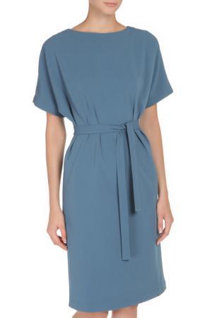 Свободное платье с поясом Cyrille Gassiline. Цвет: серо-голубой