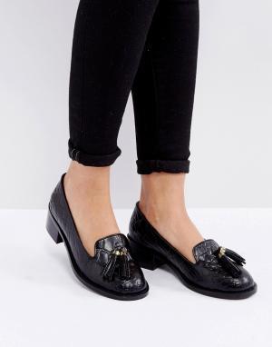 Park Lane Кожаные лоферы на каблуке с эффектом крокодиловой кожи и кисточками Pa. Цвет: черный
