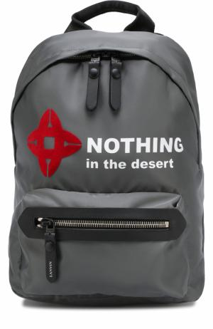 Текстильный рюкзак с внешним карманом на молнии Lanvin. Цвет: темно-серый