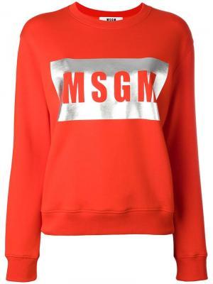 Толстовка с принтом логотипа MSGM. Цвет: красный