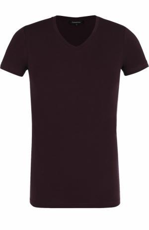 Шелковая футболка с V-образным вырезом Ermenegildo Zegna. Цвет: бордовый