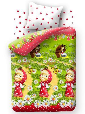 Комплект постельного белья Маша и медведь. Цвет: зеленый, красный, белый