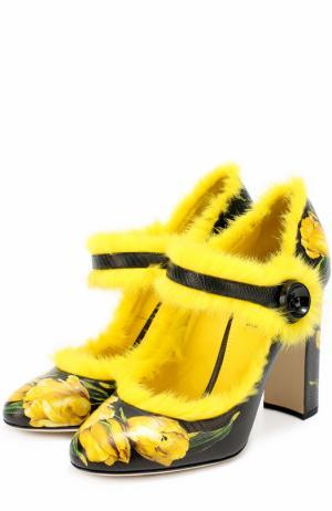Кожаные туфли Vally с принтом и меховой отделкой Dolce & Gabbana. Цвет: желтый
