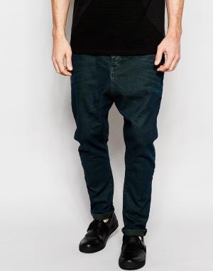Dark Future Черные выбеленные джинсы с заниженным шаговым швом