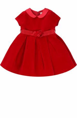 Платье из велюра с атласным поясом и цветочным декором Monnalisa. Цвет: красный