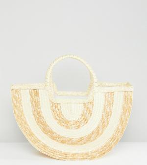 South Beach Соломенная пляжная сумка с контрастными полосками Half Moo. Цвет: бежевый