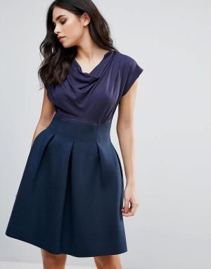 Closet London Короткое приталенное платье с драпированным топом. Цвет: темно-синий