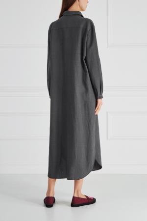 Платье из хлопка и льна Cyrille Gassiline. Цвет: серый