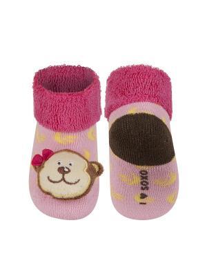 Носки детские с игрушкой Soxo. Цвет: бледно-розовый
