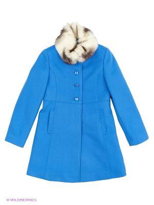 Пальто КАЛIНКА. Цвет: голубой