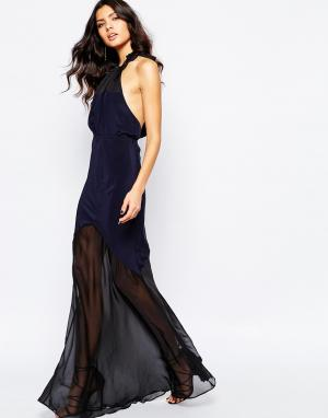 Stone Cold Fox Платье макси из темно-синего шелка Aquarius. Цвет: темно-синий