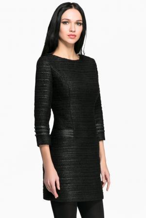 Платье с кожаной отделкой 141834 Izeta. Цвет: черный