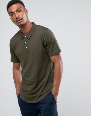 Troy Трикотажная футболка-поло с закругленным низом. Цвет: зеленый