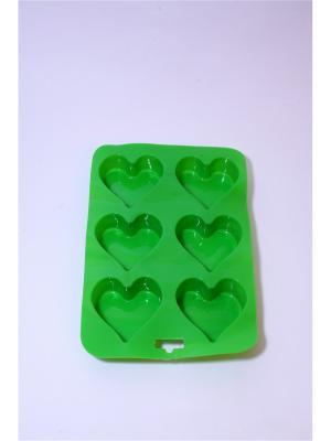 Форма силиконовая 6 ячеек, 16.5х24.5см, Сердечки. Vetta. Цвет: зеленый