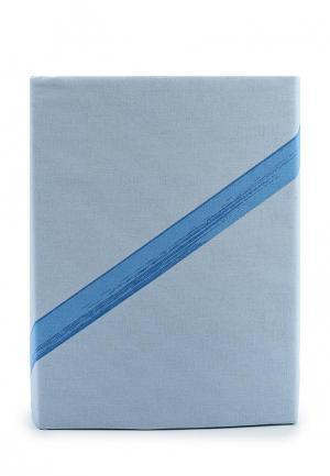 Комплект постельного белья Евро Хлопковый Край. Цвет: голубой