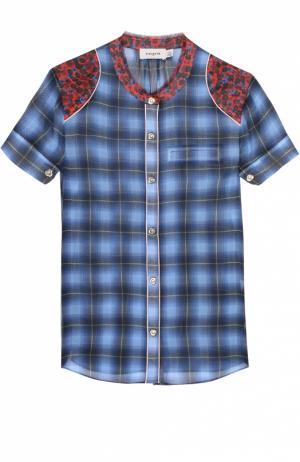 Шелковая блуза с контрастной отделкой и воротником-стойкой Coach. Цвет: разноцветный