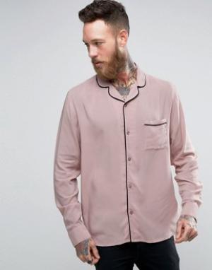 Brooklyn Supply Co. Рубашка с отложным воротником и окантовкой Co. Цвет: бежевый