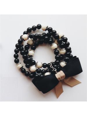 Комплект браслетов Posh из натуральных камней со съемным сатиновым бантом Магазин. Цвет: черный, бежевый, кремовый, молочный, персиковый, светло-бежевый, серо-коричневый, серый меланж, темно-бежевый