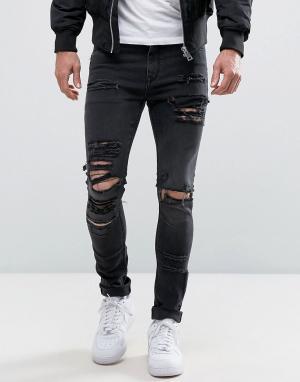 ASOS Черные выбеленные джинсы скинни из денима плотностью 12,5 унц. Цвет: черный