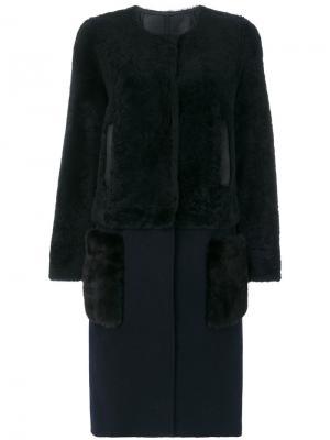 Пальто со съемным подолом Yves Salomon. Цвет: синий