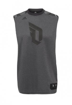 Майка спортивная adidas Performance. Цвет: серый