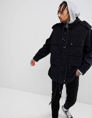 Sixth June Черная куртка в стиле милитари с капюшоном. Цвет: черный