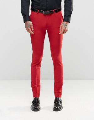 ASOS Красные супероблегающие брюки. Цвет: красный
