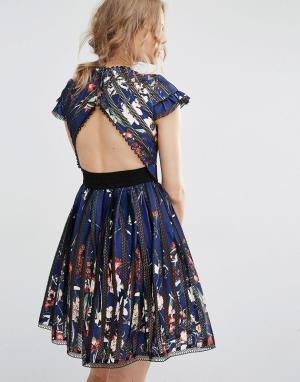 Foxiedox Коктейльное платье с вырезом на спине Bryonia. Цвет: мульти