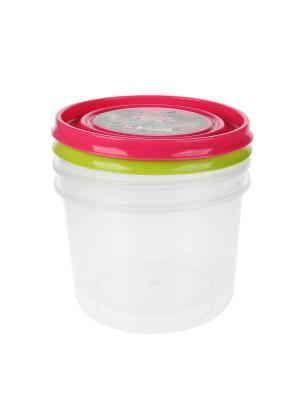 Контейнер пластиковый - 2 шт., 1 л. Migura. Цвет: салатовый, розовый