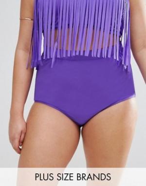Monif C Фиолетовые плавки бикини с завышенной талией. Цвет: фиолетовый