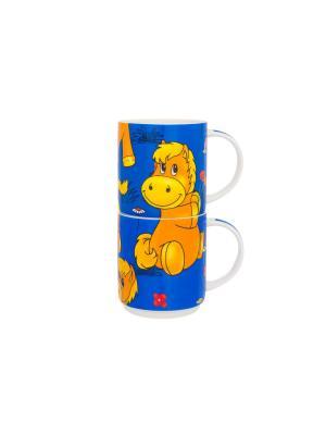 Набор 2- х кружек Коняшка Elan Gallery. Цвет: синий, желтый, оранжевый