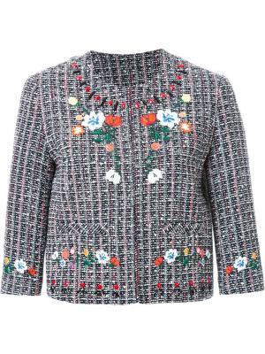 Твидовый пиджак с вышивкой Steve J & Yoni P. Цвет: многоцветный
