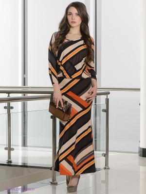 Платье МадаМ Т. Цвет: коричневый, оранжевый, кремовый, черный