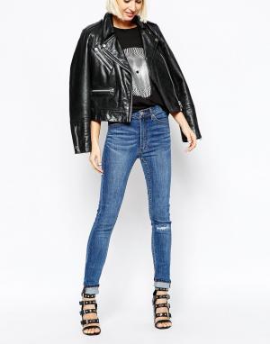 Cheap Monday Зауженные джинсы с завышенной талией Second Skin. Цвет: синий