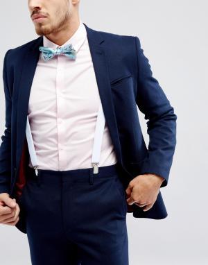 ASOS Набор с подтяжками и галстуком-бабочкой цветочным принтом WEDDI. Цвет: синий
