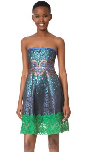 Платье без бретелек Peacock из жаккарда Cynthia Rowley. Цвет: темно-синий