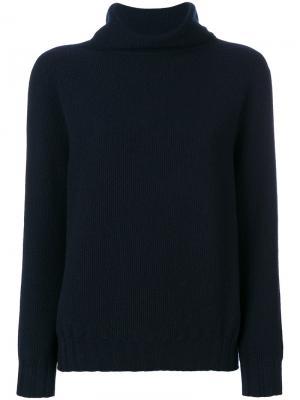 Классический свитер с отворотом Cruciani. Цвет: синий