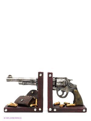 Набор держателей для книг Револьвер Miolla. Цвет: коричневый