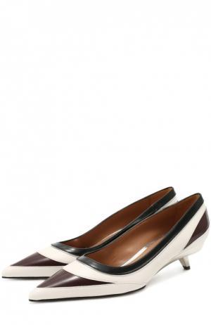 Кожаные туфли на фигурном каблуке Marni. Цвет: черно-белый